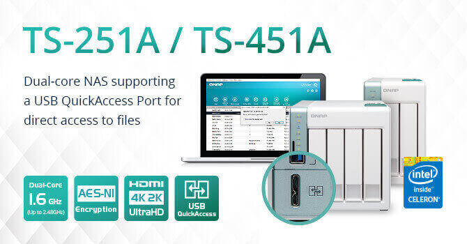 QNAP Unveils Dual-core NAS TS-251A and TS-451A, Featuring a USB QuickAccess Port and Supporting 4K V
