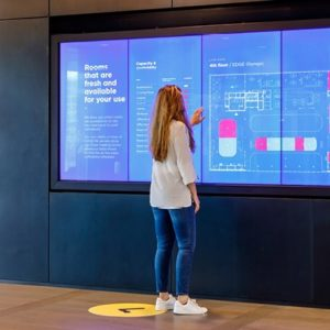 Touchscreen displays at the Edge in Amsterdam, claimed to be the world's most sustainable building